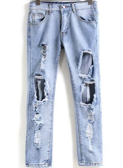 Blue Ripped Denim Slim Pant