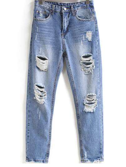 Bleached Ripped Pockets Denim Pants