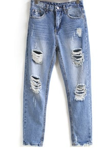 Bleached Ripped Pockets Denim Pants -SheIn(Sheinside)