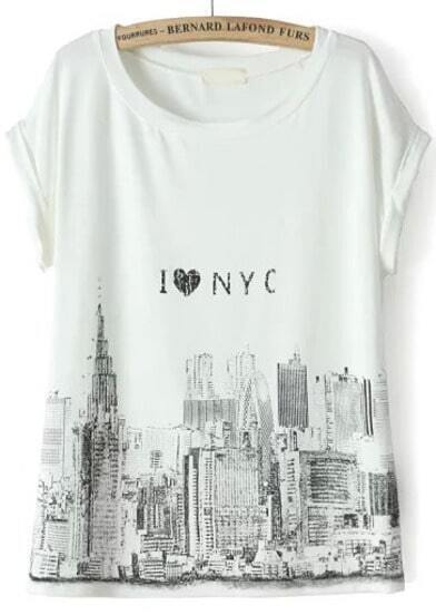 White Short Sleeve City Print T-Shirt