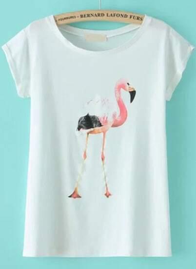white short sleeve flamingo print t shirt shein sheinside