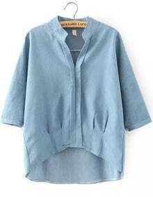 Blue Stand Collar Dip Hem Loose Blouse