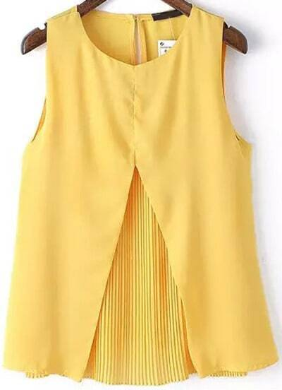 Yellow Round Neck Pleated Shift Tank Top