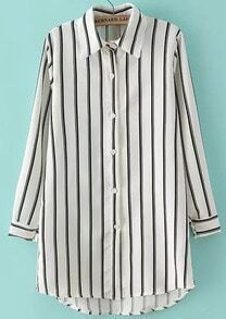 White Lapel Vertical Stripe Loose Blouse