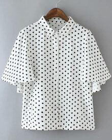 White Lapel Ruffle Sleeve Polka Dot Blouse