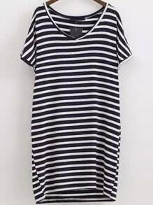 Navy V Neck Short Sleeve Striped Dress