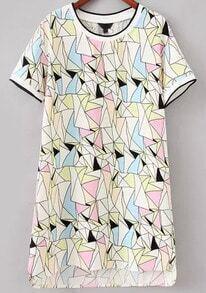 Multicolor Short Sleeve Geometric Print Dress