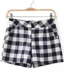 Navy Plaid Straight Shorts