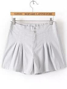 Grey Elastic Waist Pockets Shorts