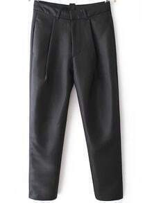 Black Casual Crop Pant