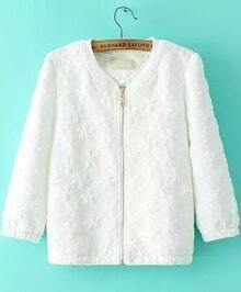 White Long Sleeve Jacquard Zipper Coat