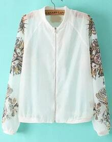 White Stand Collar Floral Pearl Zipper Coat