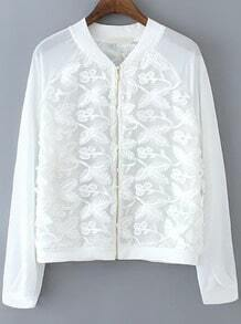 White Long Sleeve Embroidered Zipper Coat