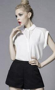 White Lapel With Buttons Slim Blouse