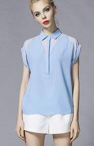 Sky Blue Lapel With Buttons Slim Blouse