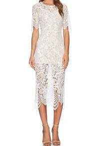 White Round Neck Lace Asymmetrical Hem Split Dress