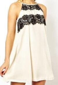 White With Lace Hollow Tank Dress