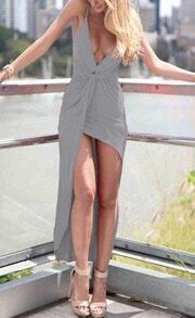 Grey Slinky Deep Plunge Neck High Low Dress