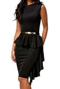 Black Sleeveless Peplum Waist Wraparound Bodycon Dress