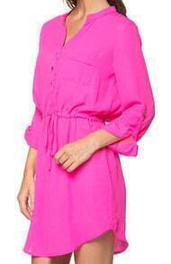 Pink V Neck Drawstring Shirt Dress