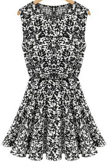Black Sleeveless Vintage Print Pleated Dress