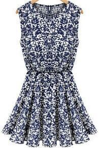 Blue Sleeveless Vintage Print Pleated Dress
