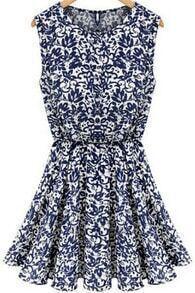 Blue Sleeveless Vintage Print Pleated Dress