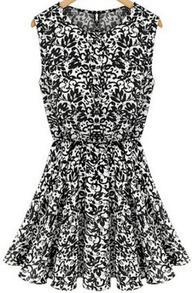 Black Sleeveless Vintage Print Pleated Dress