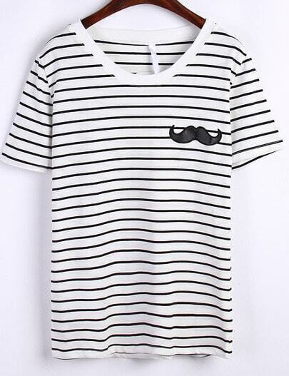 White Striped Moustache Embroidered T-Shirt