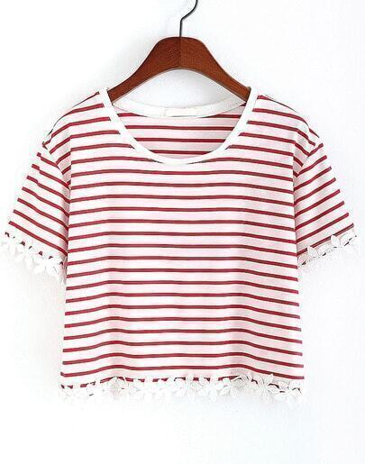 Red Striped With Appliques Crop T-Shirt