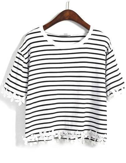 Black Striped With Appliques Crop T-Shirt