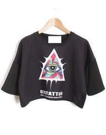 Black Eye Print Crop T-Shirt