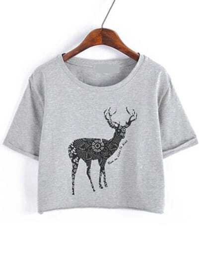 Grey Cuffed Deer Print Crop T-Shirt pictures