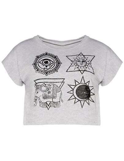 Grey Star Elephant Print Crop T-Shirt