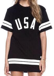 Black Short Sleeve Letter Print Long T-shirt