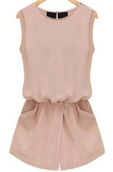 Pink Sleeveless Hollow With Pockets Jumpsuit