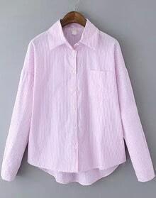 Pink Lapel Vertical Stripe Cartoon Print Blouse