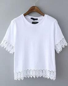 White Short Sleeve Peplum Hem Crop T-Shirt