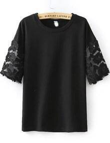 Black Sheer Mesh Short Sleeve Loose T-Shirt