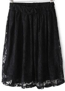Black Bow Pleated Lace Skirt