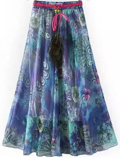Purple Drawstring Waist Peacock Print Skirt