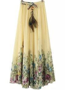 Beige Elastic Waist Floral Pleated Skirt