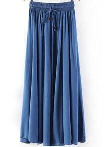 Blue Elastic Waist Pleated Skirt