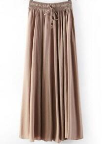 Coffee Elastic Waist Pleated Skirt