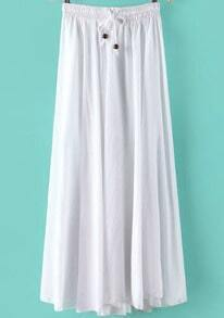 White Elastic Waist Pleated Skirt