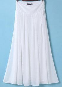 White Elastic Waist Pleated Long Skirt