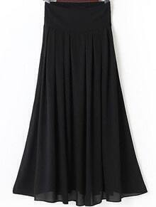Black Elastic Waist Pleated Long Skirt