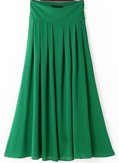 Green Elastic Waist Pleated Long Skirt
