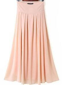 Pink Elastic Waist Pleated Long Skirt