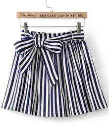 Blue Bow Striped Skirt